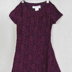 Chasing Fireflies Purple Lace Knit Dress Girls 4-5